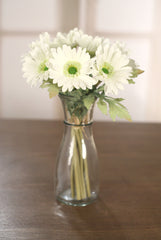 Bunch of 7 Faux Gerberas Realistic White Artificial Silk Flowers Wedding Decor