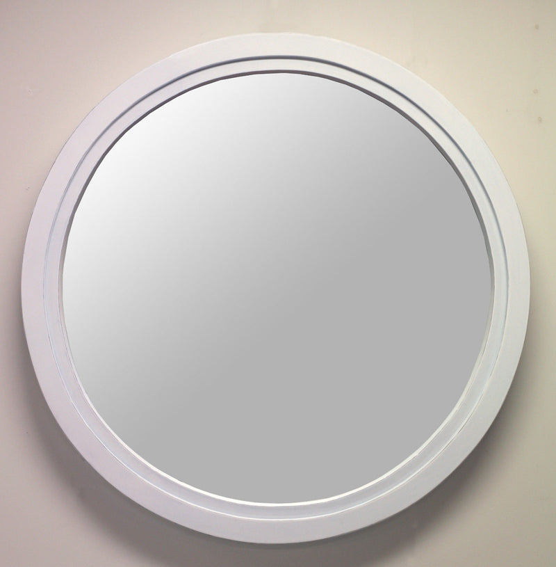 Mirror Antiqued White Round 80cms Diameter Mahogany White Bedroom Bathroom