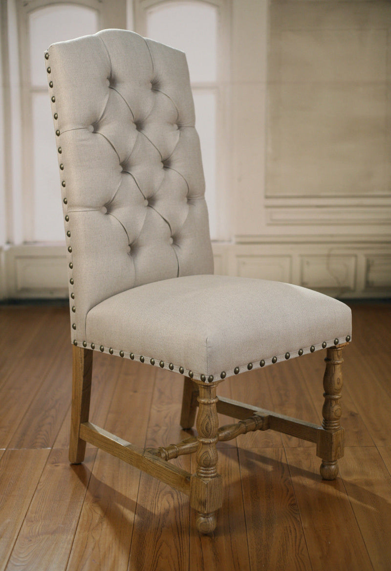 Lyon Dining Chair USA Oak & Linen Button