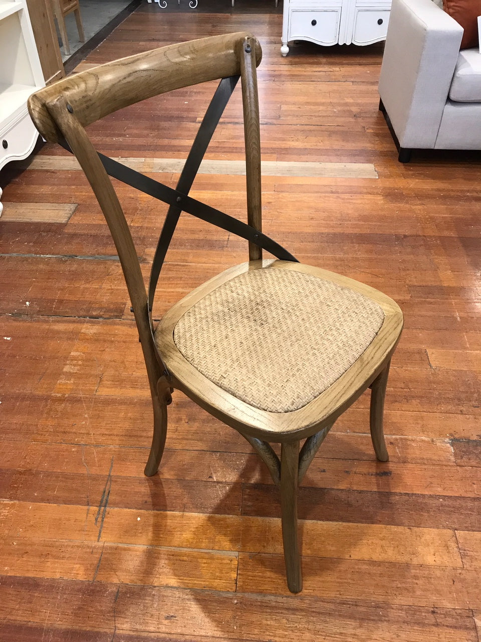 Picture of: Dining Chair Oak With Black Strap Cross Back Buffet And Hutch