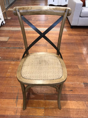 Dining Chair Oak with Black Strap Cross Back