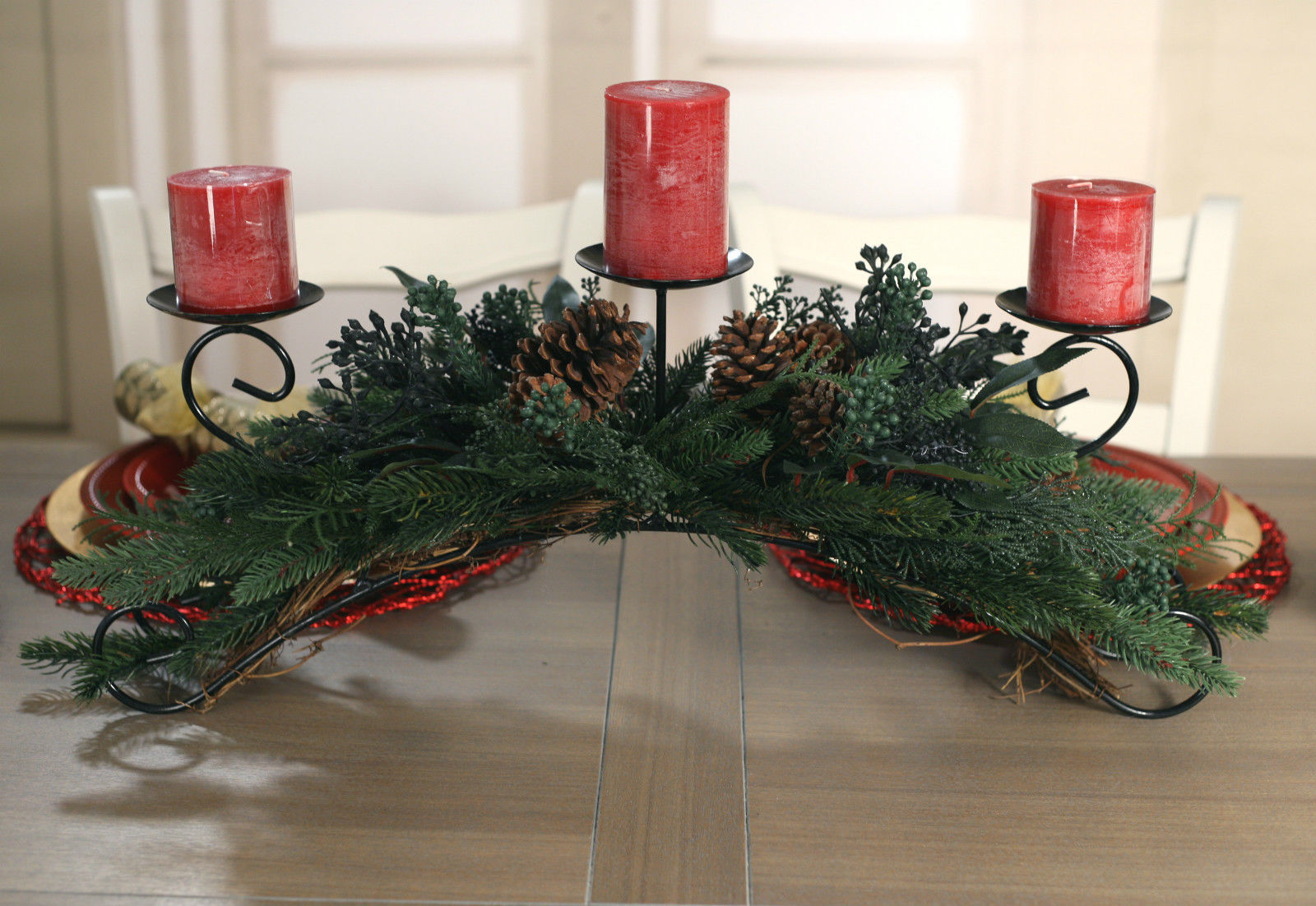 Christmas Candle Holder Table Centre Decor Pine Xmas Decoration 3 Cand Buffet And Hutch