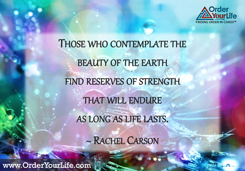 Those who contemplate the beauty of the earth find reserves of strength that will endure as long as life lasts. ~ Rachel Carson