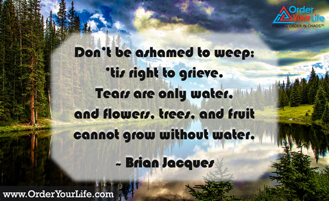 Don't be ashamed to weep; 'tis right to grieve. Tears are only water, and flowers, trees, and fruit cannot grow without water. ~ Brian Jacques