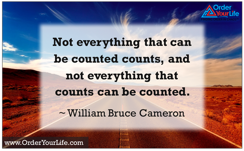Not everything that can be counted counts, and not everything that counts can be counted. ~ William Bruce Cameron