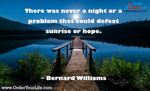 There was never a night or a problem that could defeat sunrise or hope. ~ Bernard Williams