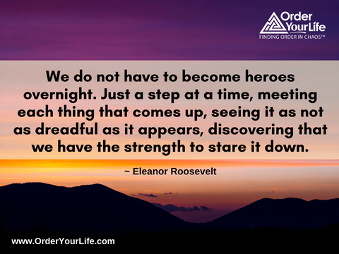 We do not have to become heroes overnight. Just a step at a time, meeting each thing that comes up, seeing it as not as dreadful as it appears, discovering that we have the strength to stare it down. ~ Eleanor Roosevelt