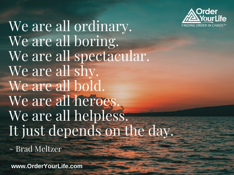 We are all ordinary. We are all boring. We are all spectacular. We are all shy. We are all bold. We are all heroes. We are all helpless. It just depends on the day. ~ Brad Meltzer