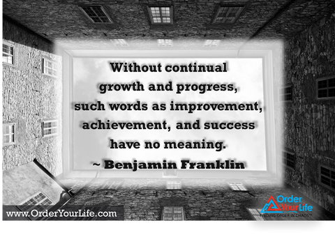 Without continual growth and progress, such words as improvement, achievement, and success have no meaning. ~ Benjamin Franklin