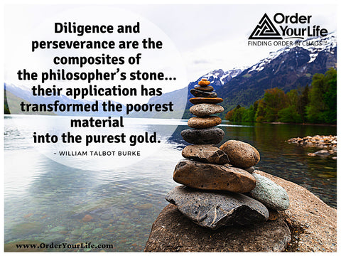 Diligence and perseverance are the composites of the philosopher's stone…their application has transformed the poorest material into the purest gold. ~ William Talbot Burke