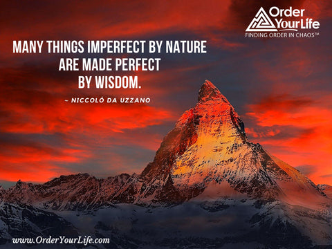 Many things imperfect by nature are made perfect by wisdom. ~ Niccolò da Uzzano