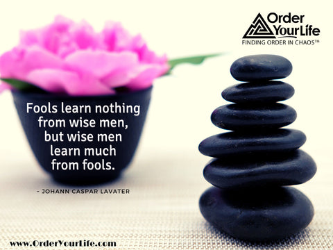 Fools learn nothing from wise men, but wise men learn much from fools. ~ Johann Caspar Lavater