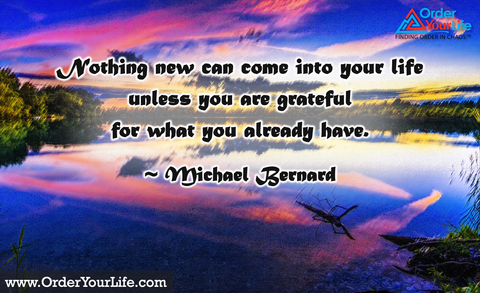Nothing new can come into your life unless you are grateful for what you already have. ~ Michael Bernard
