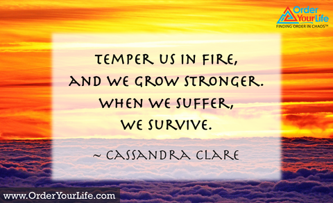 Temper us in fire, and we grow stronger. When we suffer, we survive. ~ Cassandra Clare