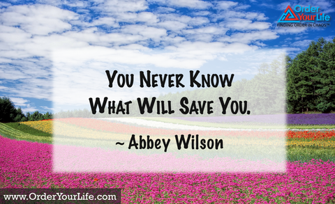 You never know what will save you. ~ Abbey Wilson