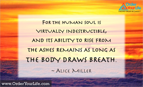For the human soul is virtually indestructible, and its ability to rise from the ashes remains as long as the body draws breath. ~ Alice Miller