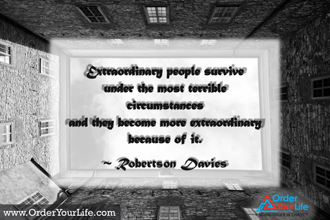 Extraordinary people survive under the most terrible circumstances and they become more extraordinary because of it. ~ Robertson Davies