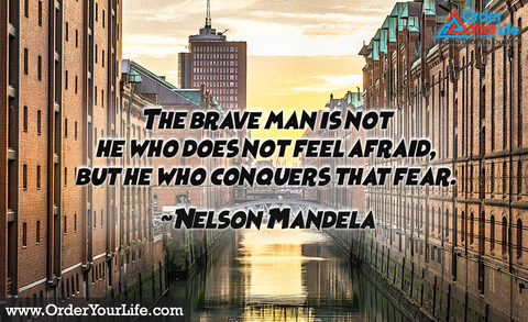 The brave man is not he who does not feel afraid, but he who conquers that fear. ~ Nelson Mandela