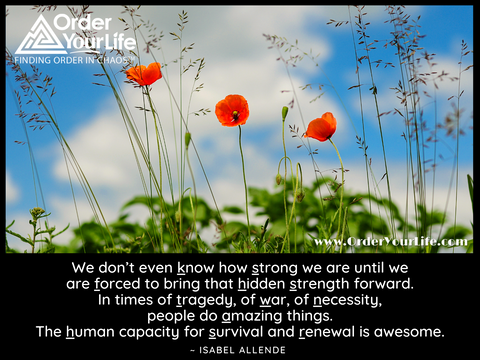 We don't even know how strong we are until we are forced to bring that hidden strength forward. In times of tragedy, of war, of necessity, people do amazing things. The human capacity for survival and renewal is awesome. ~ Isabel Allende