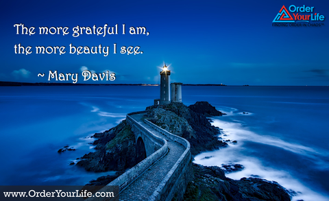 The more grateful I am, the more beauty I see. ~ Mary Davis