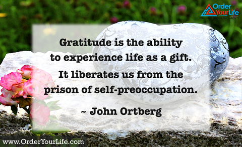 Gratitude is the ability to experience life as a gift. It liberates us from the prison of self-preoccupation. ~ John Ortberg