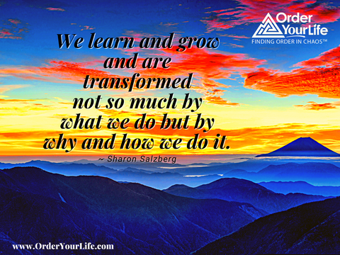 We learn and grow and are transformed not so much by what we do but by why and how we do it. ~ Sharon Salzberg