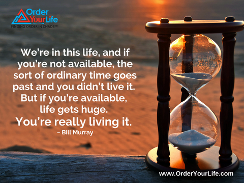 We're in this life, and if you're not available, the sort of ordinary time goes past and you didn't live it. But if you're available, life gets huge. You're really living it. ~ Bill Murray