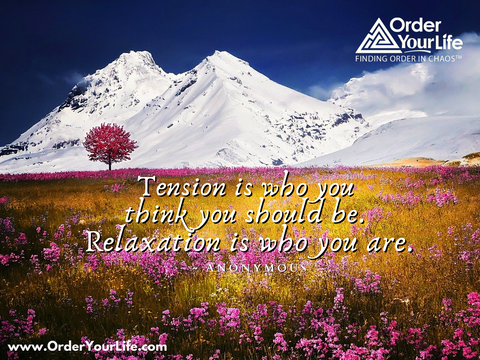 Tension is who you think you should be. Relaxation is who you are. ~ Anonymous