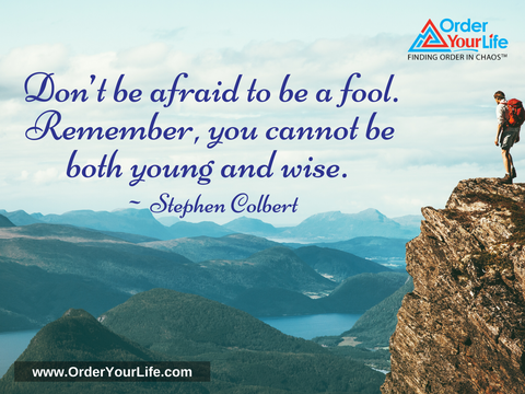 Don't be afraid to be a fool. Remember, you cannot be both young and wise. ~ Stephen Colbert