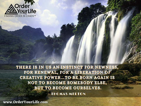 There is in us an instinct for newness, for renewal, for a liberation of creative power…To be born again is not to become somebody else, but to become ourselves. ~ Thomas Merton