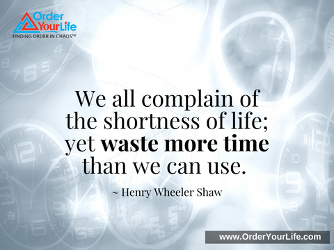 We all complain of the shortness of life; yet waste more time than we can use. ~ Henry Wheeler Shaw