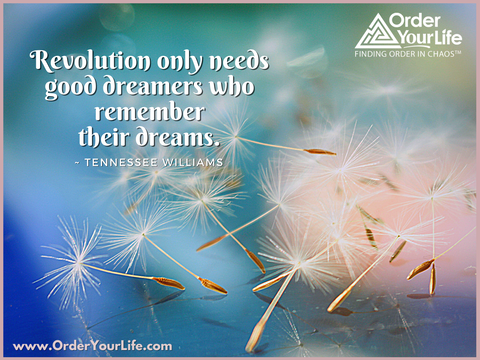 Revolution only needs good dreamers who remember their dreams. ~ Tennessee Williams