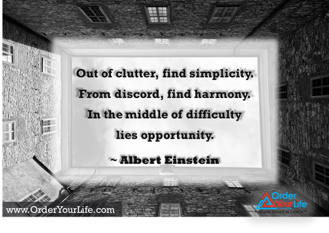 Out of clutter, find simplicity. From discord, find harmony. In the middle of difficulty lies opportunity. ~ Albert Einstein