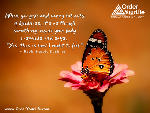 "When you give and carry out acts of kindness, it's as though something inside your body responds and says, ""Yes, this is how I ought to feel."" ~ Rabbi Harold Kushner"