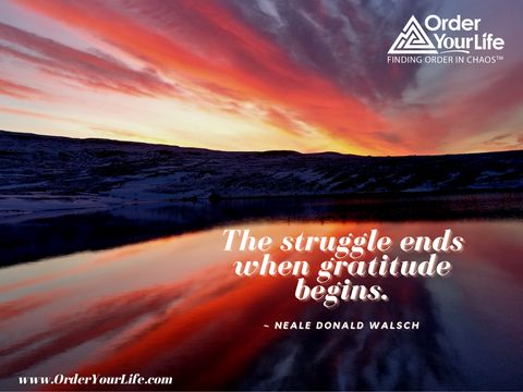 The struggle ends when gratitude begins. ~ Neale Donald Walsch