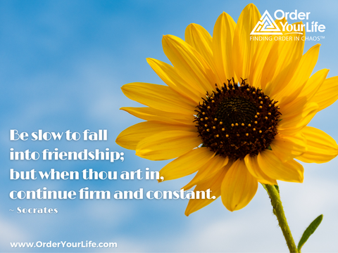 Be slow to fall into friendship; but when thou art in, continue firm and constant. ~ Socrates