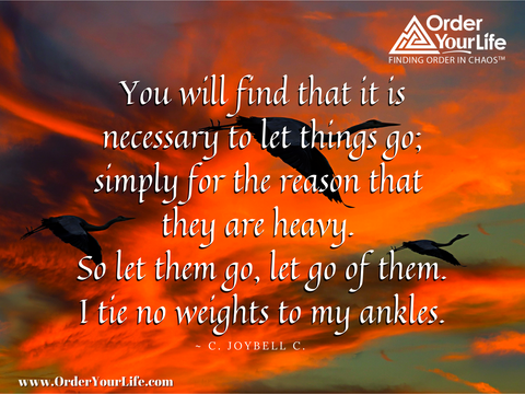 You will find that it is necessary to let things go; simply for the reason that they are heavy. So let them go, let go of them. I tie no weights to my ankles. ~ C. JoyBell C.