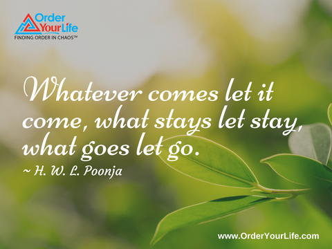 Whatever comes let it come, what stays let stay, what goes let go. ~ H. W. L. Poonja