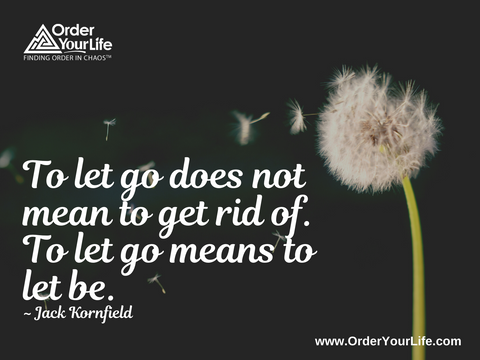 To let go does not mean to get rid of. To let go means to let be. ~ Jack Kornfield