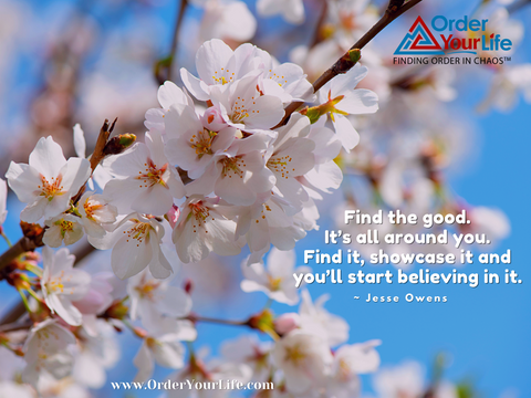 Find the good. It's all around you. Find it, showcase it and you'll start believing in it. ~ Jesse Owens