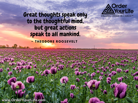 Great thoughts speak only to the thoughtful mind, but great actions speak to all mankind. ~ Theodore Roosevelt
