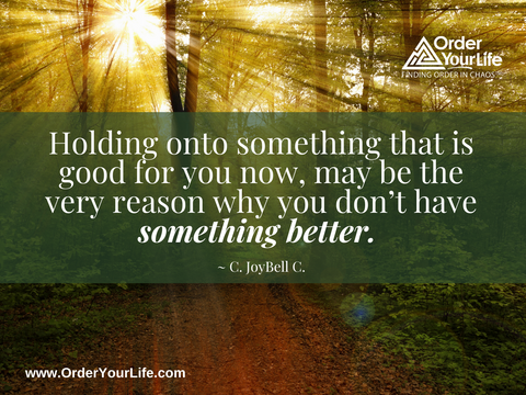 Holding onto something that is good for you now, may be the very reason why you don't have something better. ~ C. JoyBell C.
