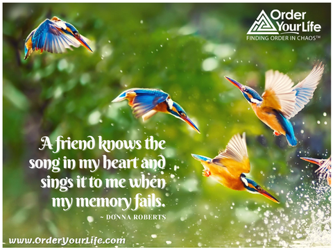 A friend knows the song in my heart and sings it to me when my memory fails. ~ Donna Roberts