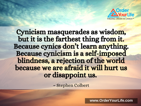 Cynicism masquerades as wisdom, but it is the farthest thing from it. Because cynics don't learn anything. Because cynicism is a self-imposed blindness, a rejection of the world because we are afraid it will hurt us or disappoint us. ~ Stephen Colbert