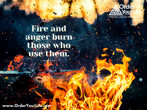 Fire and anger burn those who use them. ~ Proverb