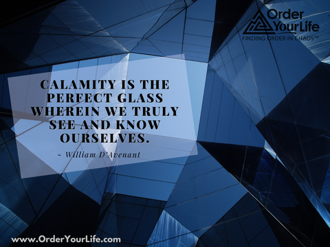 Calamity is the perfect glass wherein we truly see and know ourselves. ~ William D'Avenant