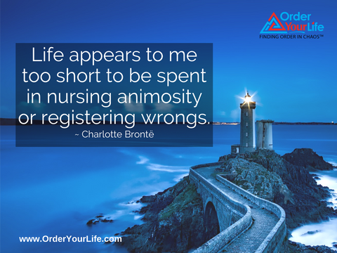 Life appears to me too short to be spent in nursing animosity or registering wrongs. ~ Charlotte Brontë