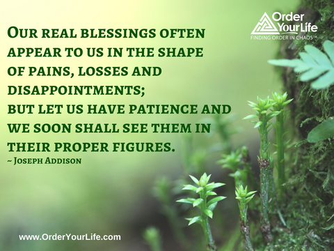 Our real blessings often appear to us in the shape of pains, losses and disappointments; but let us have patience and we soon shall see them in their proper figures. ~ Joseph Addison