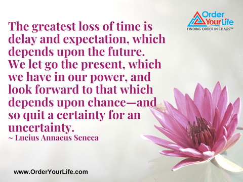 The greatest loss of time is delay and expectation, which depends upon the future. We let go the present, which we have in our power, and look forward to that which depends upon chance—and so quit a certainty for an uncertainty. ~ Lucius Annaeus Seneca