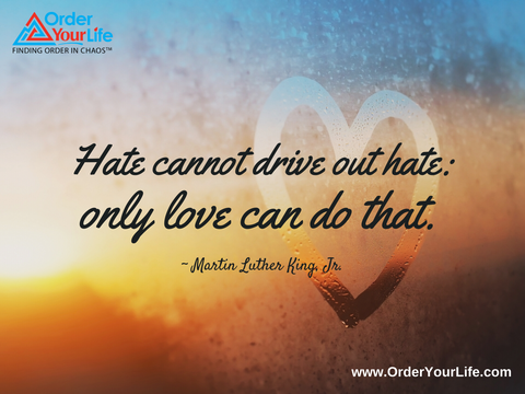 Hate cannot drive out hate: only love can do that. ~ Martin Luther King, Jr.